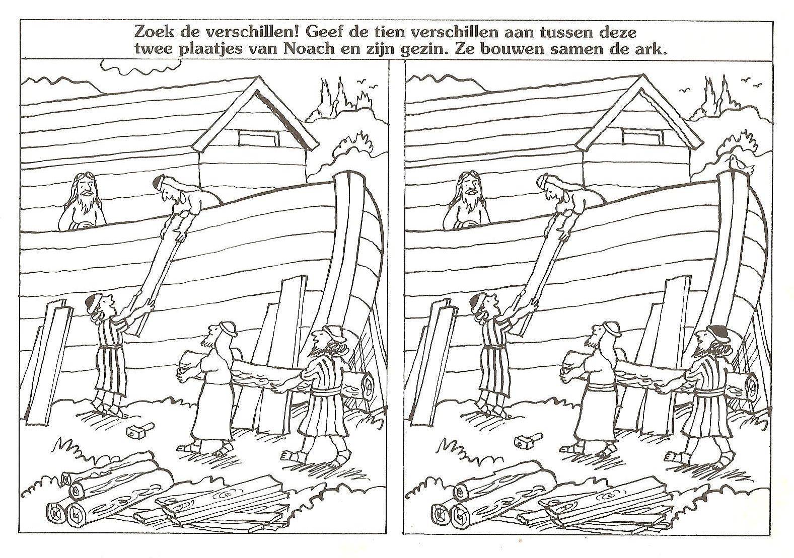 De Ark Van Noach Zoek De 10 Verschillen Ark Van Noach Bijbelknutselwerk Ark