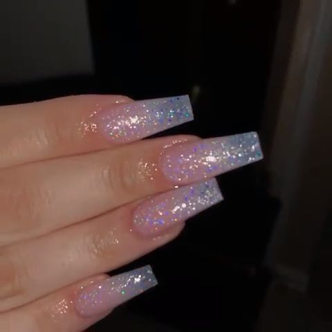Light pink holographic glitter acrylic nails 💘