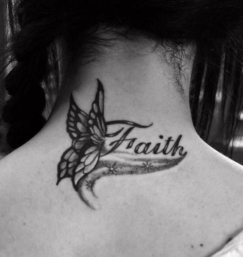 Faith Grey Butterfly Tattoo On Back Neck Neck Tattoo Butterfly Neck Tattoo Neck Tattoos Women