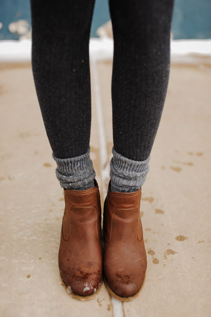 booties with socks over leggings …