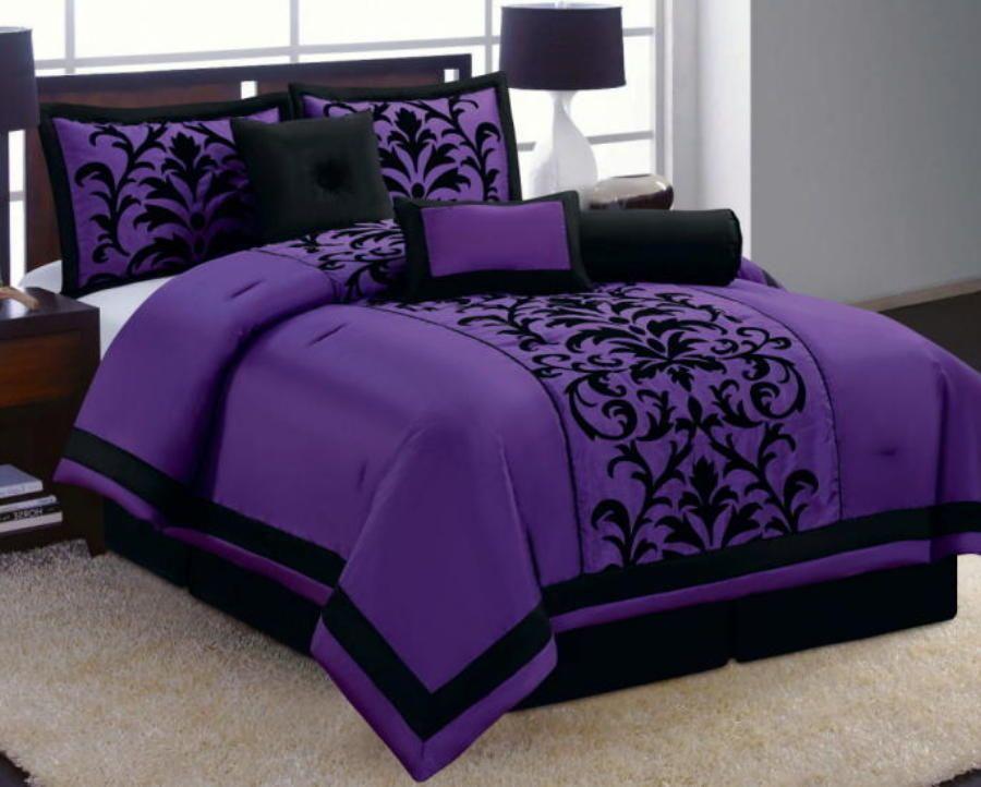 15 Pc Purple Black Luxury Flocking Comforter Curtain Sheet