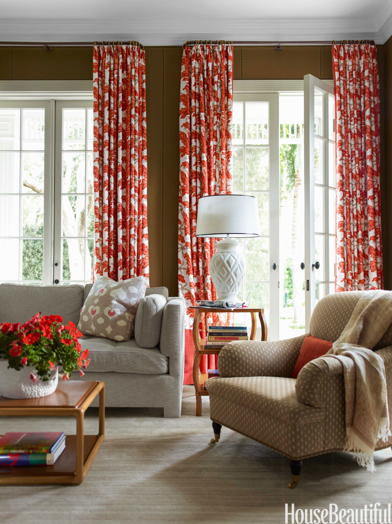A Library With Tropical Style Window Treatments Living Room Dining Room Window Treatments Curtains Living Room #tropical #curtains #for #living #room