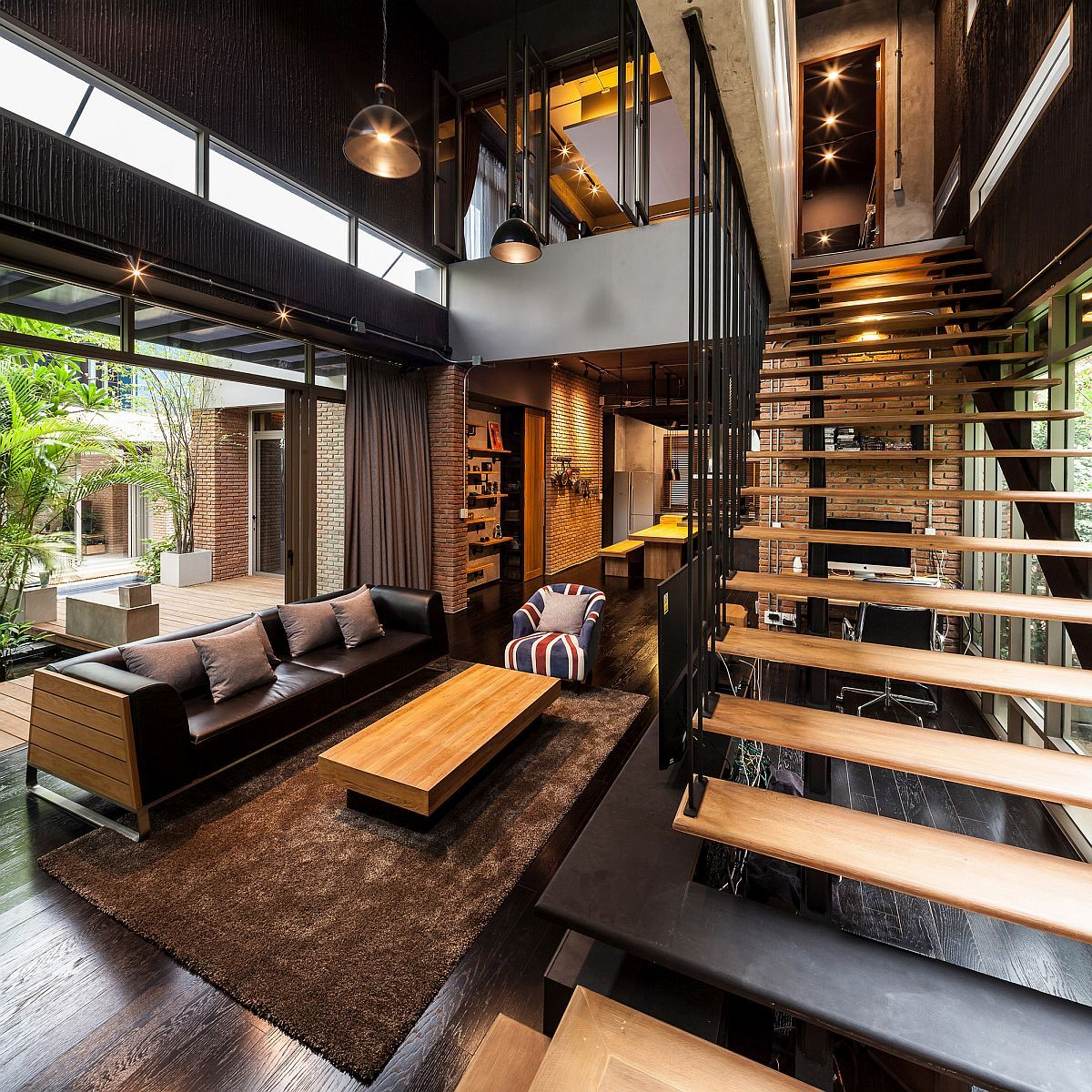 industrial and modern side by side two houses in bangkok. Black Bedroom Furniture Sets. Home Design Ideas