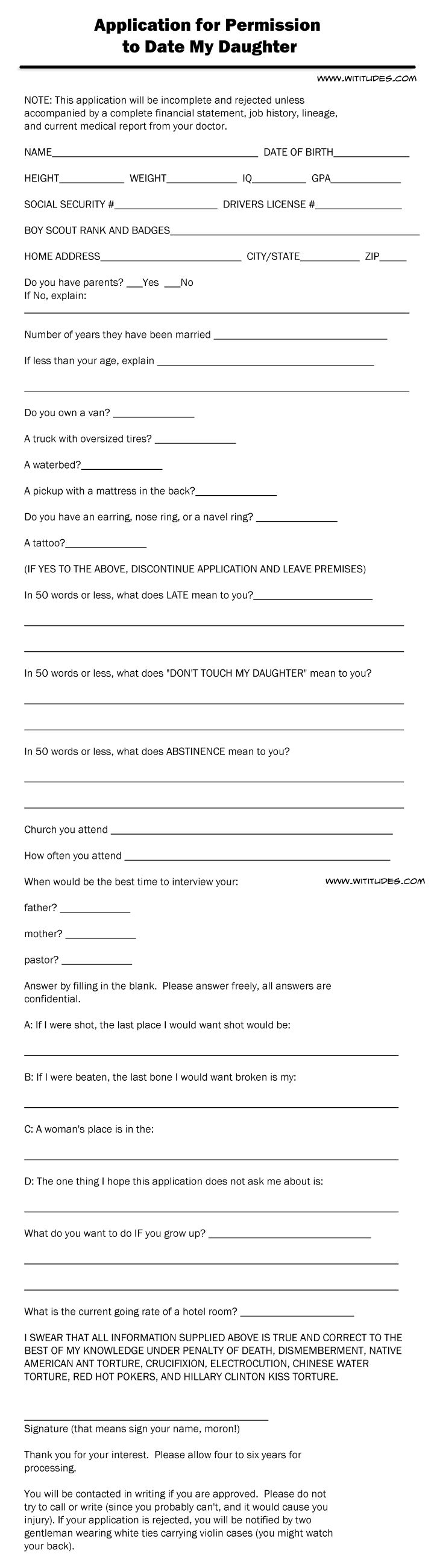 Application for dating my daughter