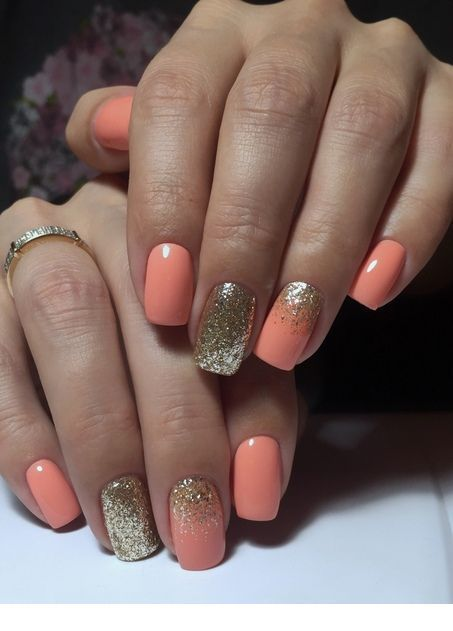 Photo of Orange and gold nails design – #design #gold #Nails #Orangé