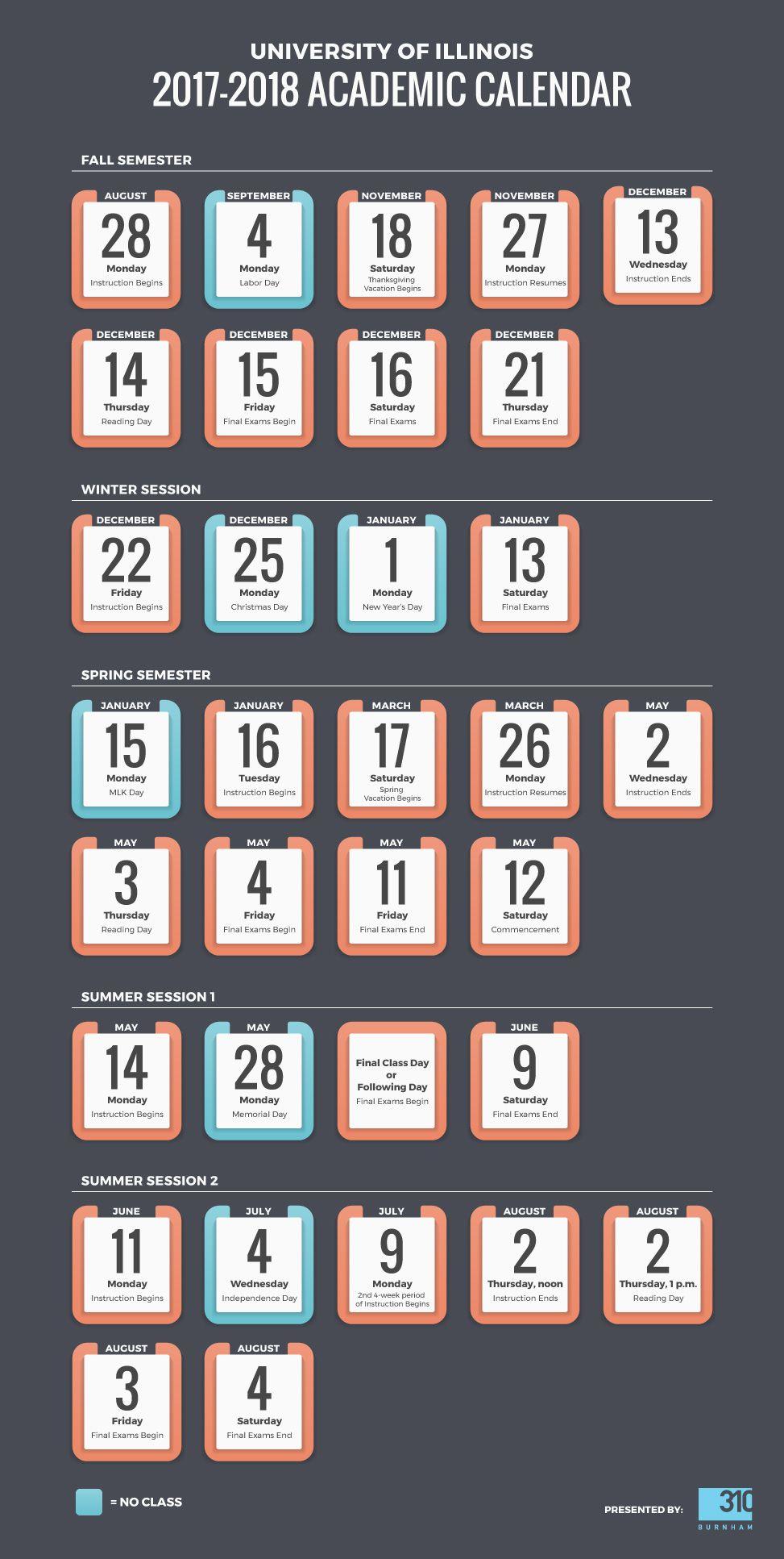 Uiuc Academic Calendar 2017 2018 School Schedule Infographic