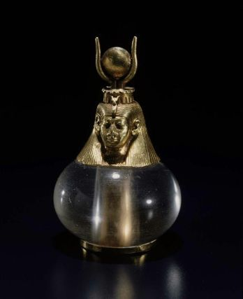 *EGYPT ~ Hathor headed crystal pendant Nubian, Napatan Period, reign of Piye (Piankhy), 743–712 B.C.