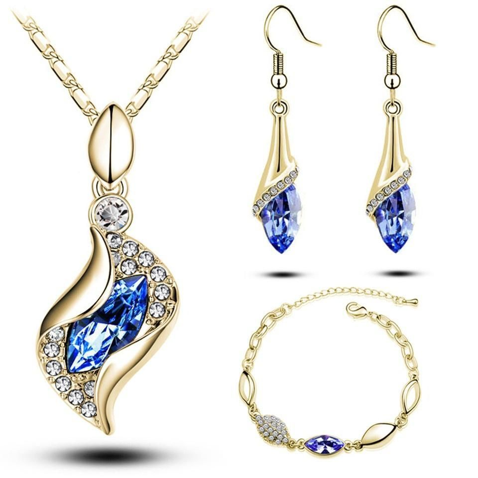 Women Water Drop Gold Plated Jewelry Set Necklace Bracelet Earrings Ring Fashion
