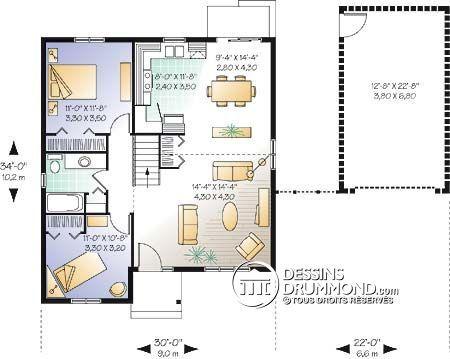 Détail du plan de Maison unifamiliale W2190 Maisons minuscules