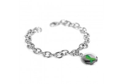 Green Awareness Bracelet, Custom Engraved, Stainless Steel O-Links