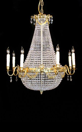French empire cast bronze and crystal chandelier late 1800s to early 1900s