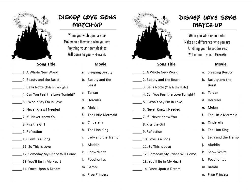 disney love song match up game | Email This BlogThis ...