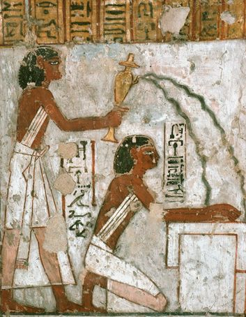 Ablutions: A priest purifies the hands of another one, on an altar. A daily  ritual. Ancient Egyptian tomb. | Antike ägyptische kunst, Ägyptische kunst,  Alte kunst