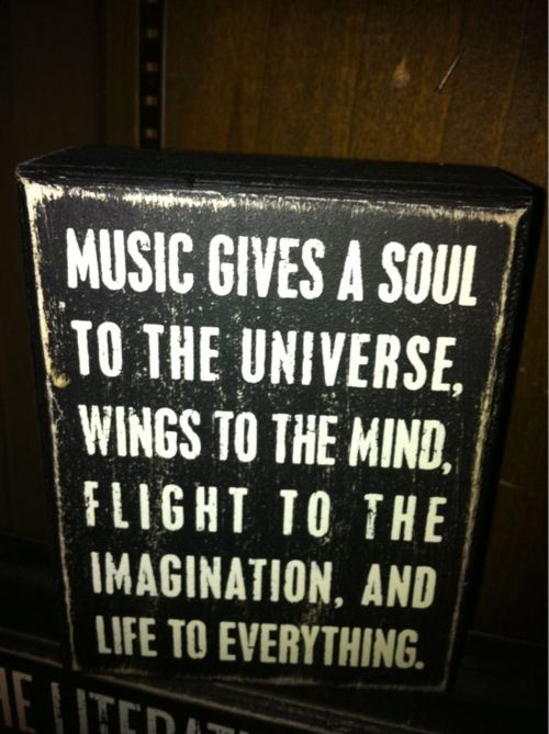 Music gives a soul to the universe, wings to the mind, flight to the imagination, and life to everything.