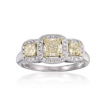 1.17 ct. t.w. Fancy Yellow and White Diamond Ring in 18kt Two-Tone Gold