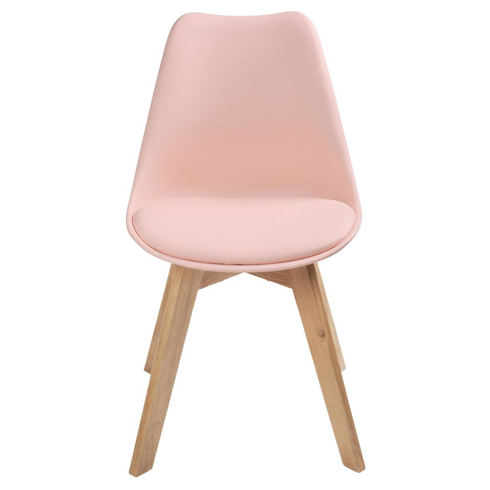 Pastel Pink Scandinavian Chair With Oak Ice Maisons Du Monde Cadeira Para Escrivaninha Ideias De Decoracao Ideias