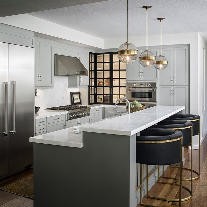 Forsyth Art Deco Kitchen Interior Design San Diego: The Gray Kitchen Island Paint Color Is Sherwin Williams