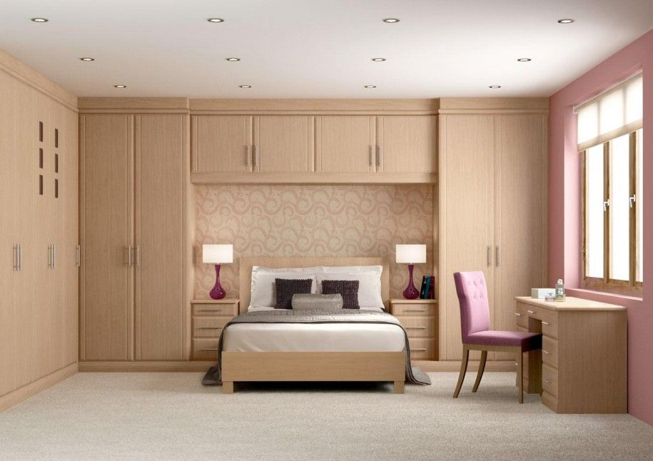 Awesome bedroom design with wooden wall mounted wardrobe cabinets also office desk with pink - Bedroom cabinets design ideas ...