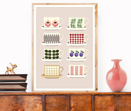 Art Print Retro Kitchen Tea Coffee Cups