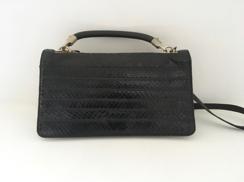 90dd1d68b676a Sac à main pochette cuir noir - French vintage black leather clutch purse  handbag de la