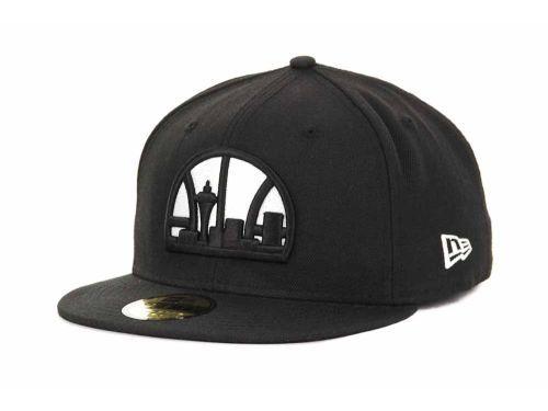 newest collection 45104 8168f Seattle SuperSonics New Era NBA Hardwood Classics Black White 59FIFTY Hats