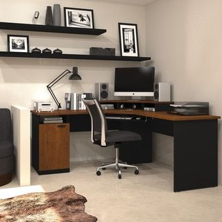 Bestar Hampton Corner Workstation Desk Tuscany Brown Black Finish Desks And