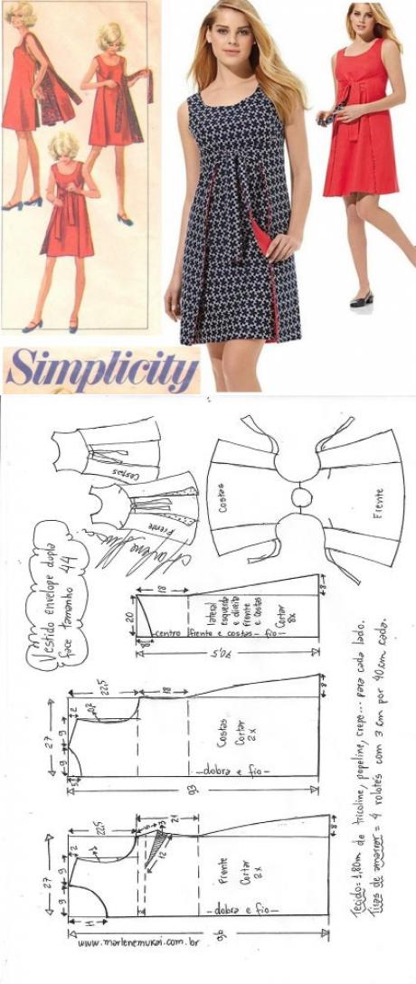 Vestido envelope dupla face evasê | DIY - molde, corte e costura ...