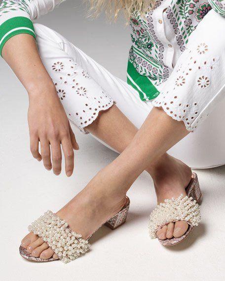 618e7c3beb5 Tory Burch Tatiana Pearly Tweed Slide Sandal
