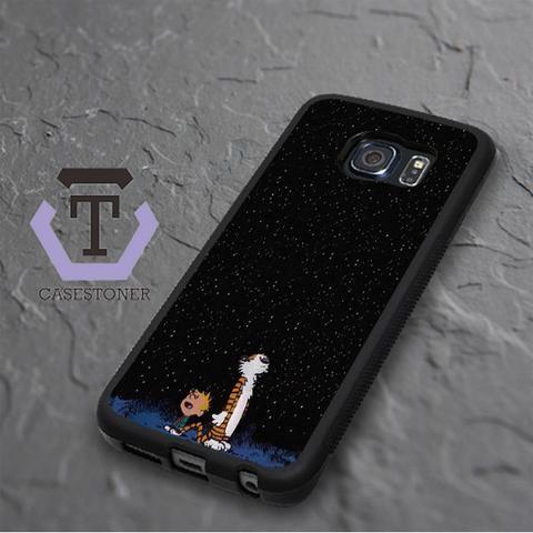 Calvin And Hobes Night Sky Samsung Galaxy S6 Edge Plus Black Case