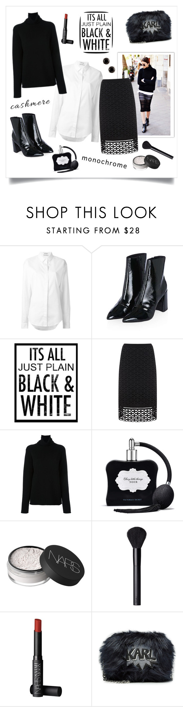 """Cashmere!"" by diane1234 ❤ liked on Polyvore featuring Anthony Vaccarello, Topshop, Mint Velvet, Chloé, Victoria's Secret, NARS Cosmetics and Karl Lagerfeld"
