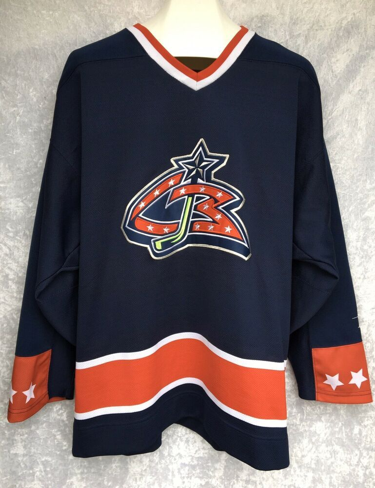 Vtg Columbus Blue Jackets Hockey Jersey Cbj Pro Player Sewn Stinger Mens Large Proplayer Columbusbl In 2020 Blue Jacket Men Blue Jackets Hockey Columbus Blue Jackets