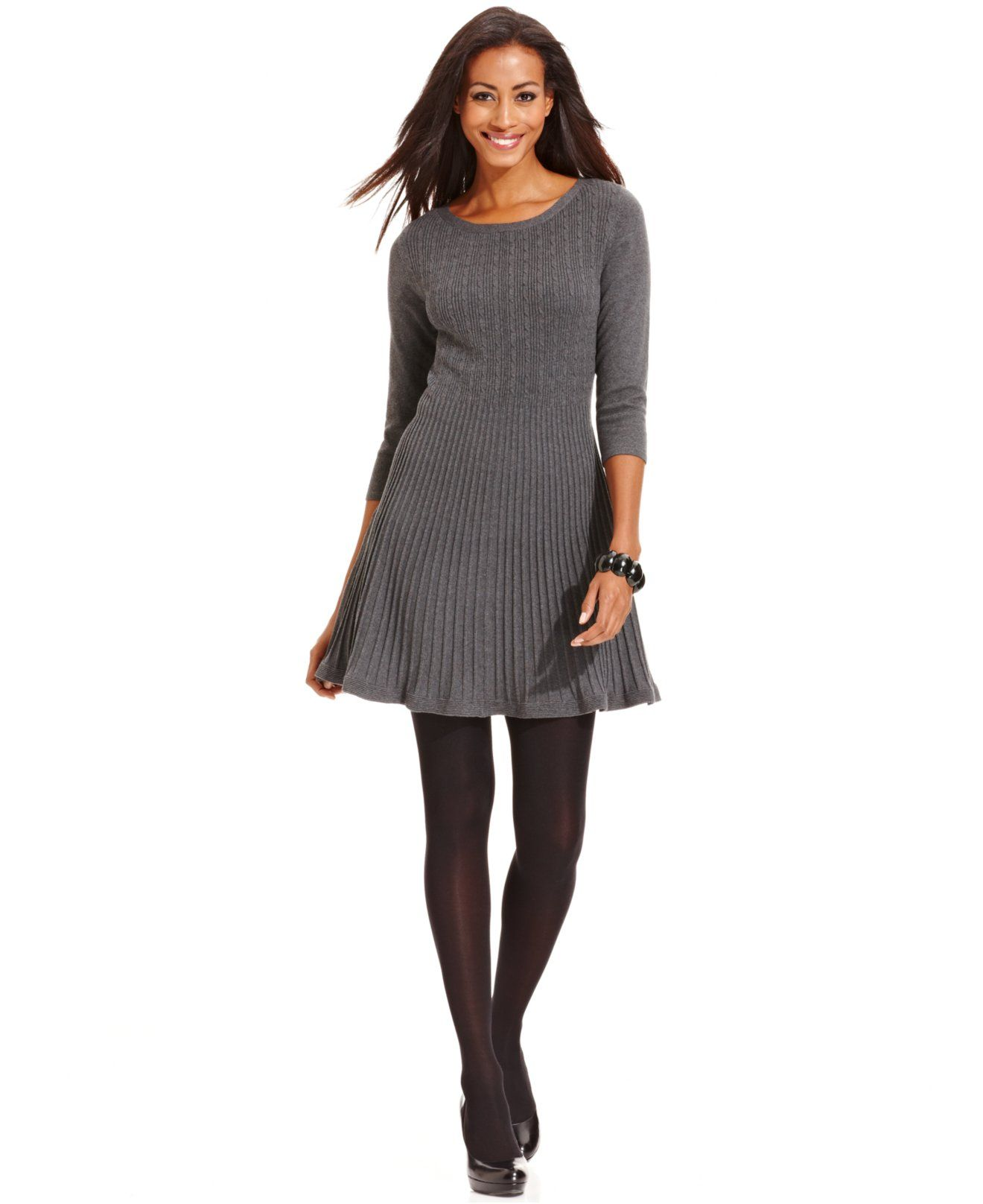 Styleco. Petite Cable-Knit A-Line Sweater Dress - Dresses - Women ...