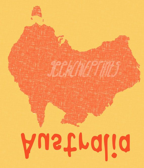 Australia Silhouette Funny Subtle Typography Digital Art