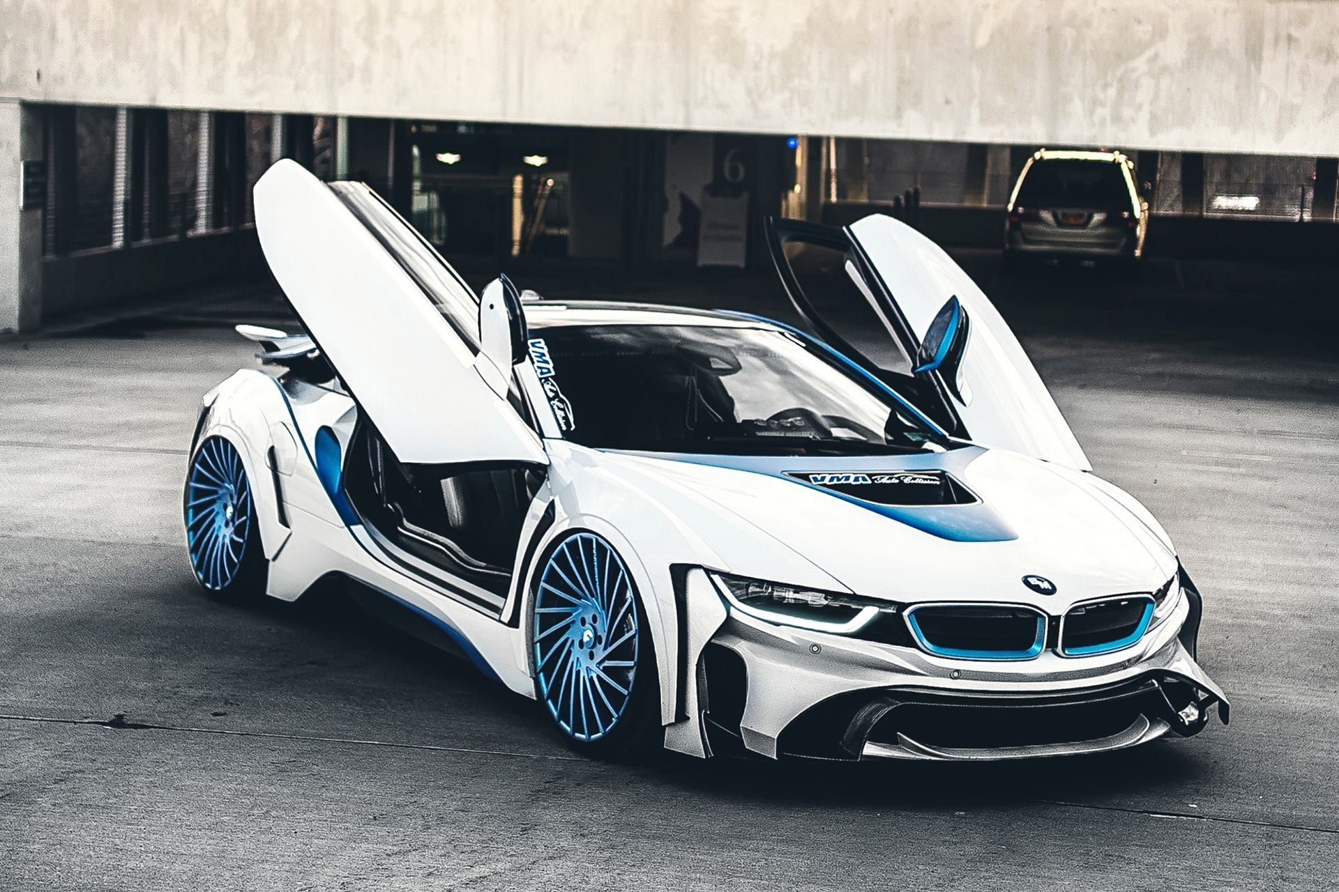 Spaceship In The Form Of The Car Custom White Bmw I8 With Blue Accents Bmw I8 Bmw Bmw White