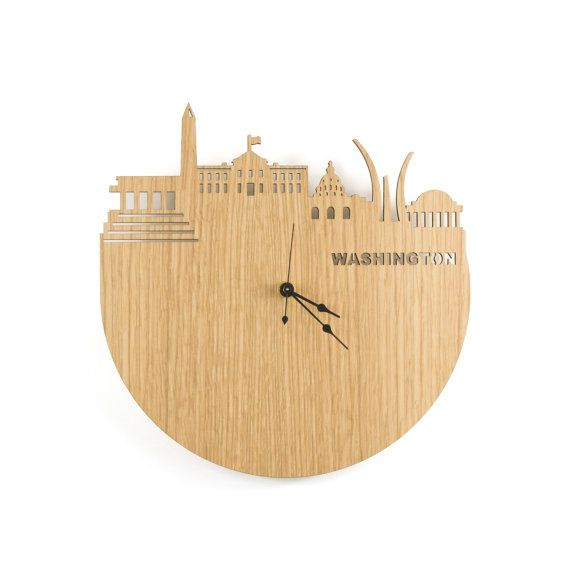 Large Wall Clock Wood Modern Washington DC Skyline Wood Tourism ...