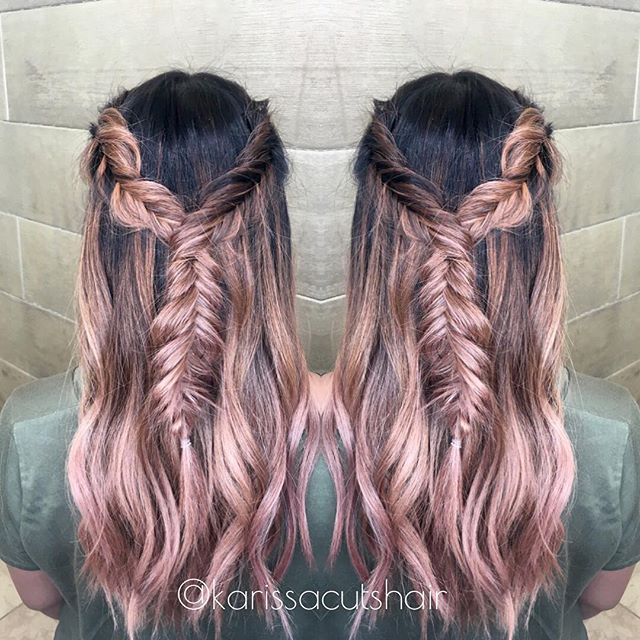 so much fun doing this rose gold balayage on my lovely ...