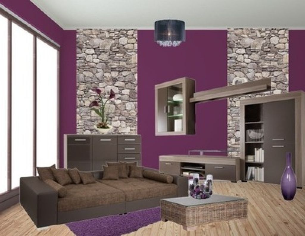 wohnzimmereinrichtung ideen lila | Kreative Wandgestaltung ...