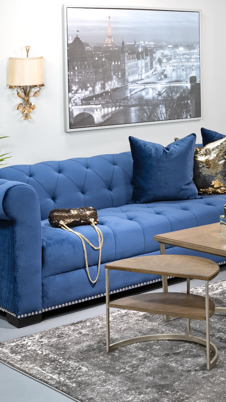 How Glamorous Is This Living Room Design By Lesliejoanna We Love The Velvet Tufted Sofa Sofa At Home Furniture Store Furniture Store Living Room Designs #velvet #tufted #living #room #set