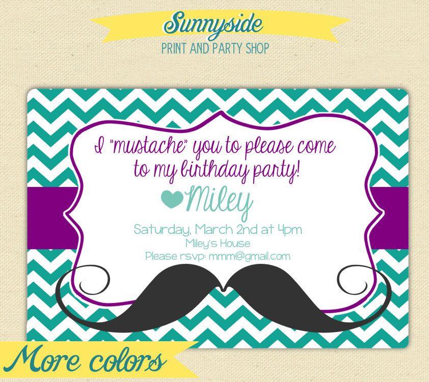 Mustache You Girl\'s Birthday Invitation - Printable Girls Birthday ...