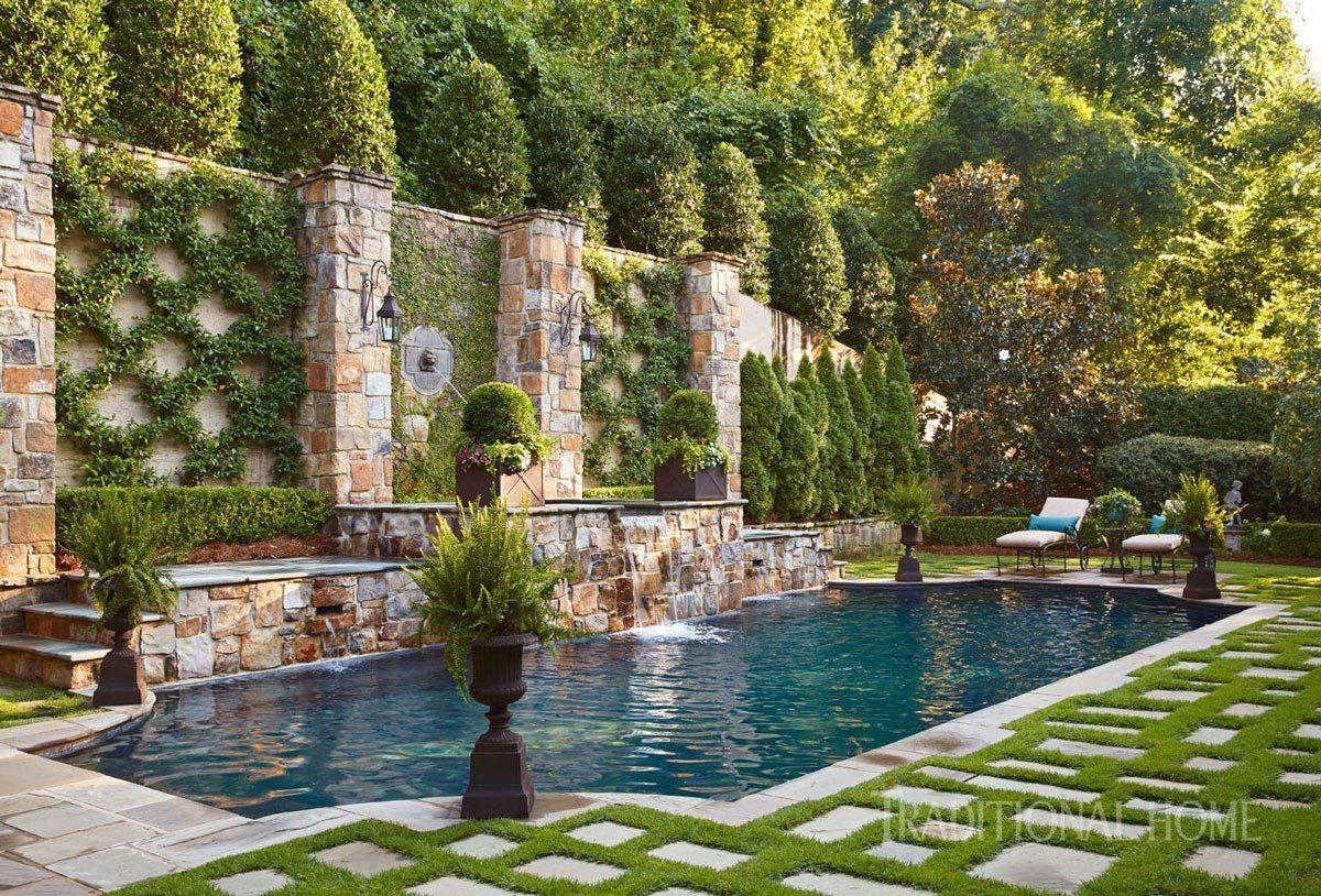A Favorite In Garden Design Espalier Blue And White Home Outdoor Pool Decor European Garden Pool Landscaping