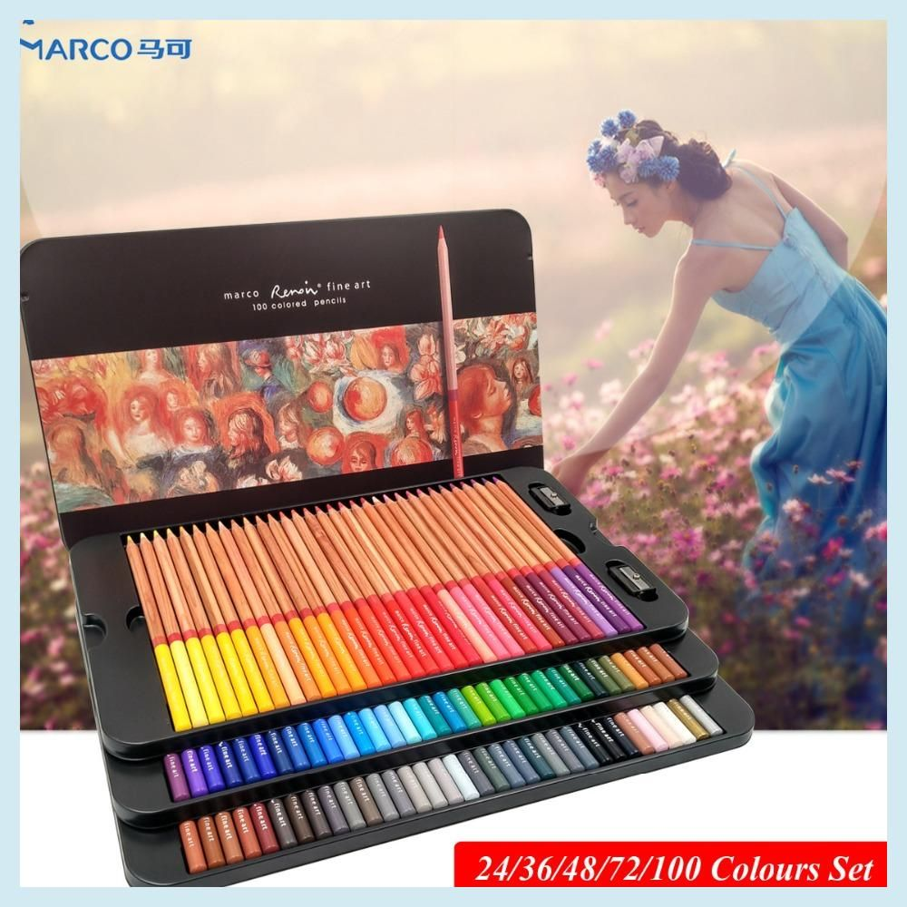 995fa45c4e012 Marco Renoir 24 36 48 72 100 Artist s Colour Set Colored pencils ...