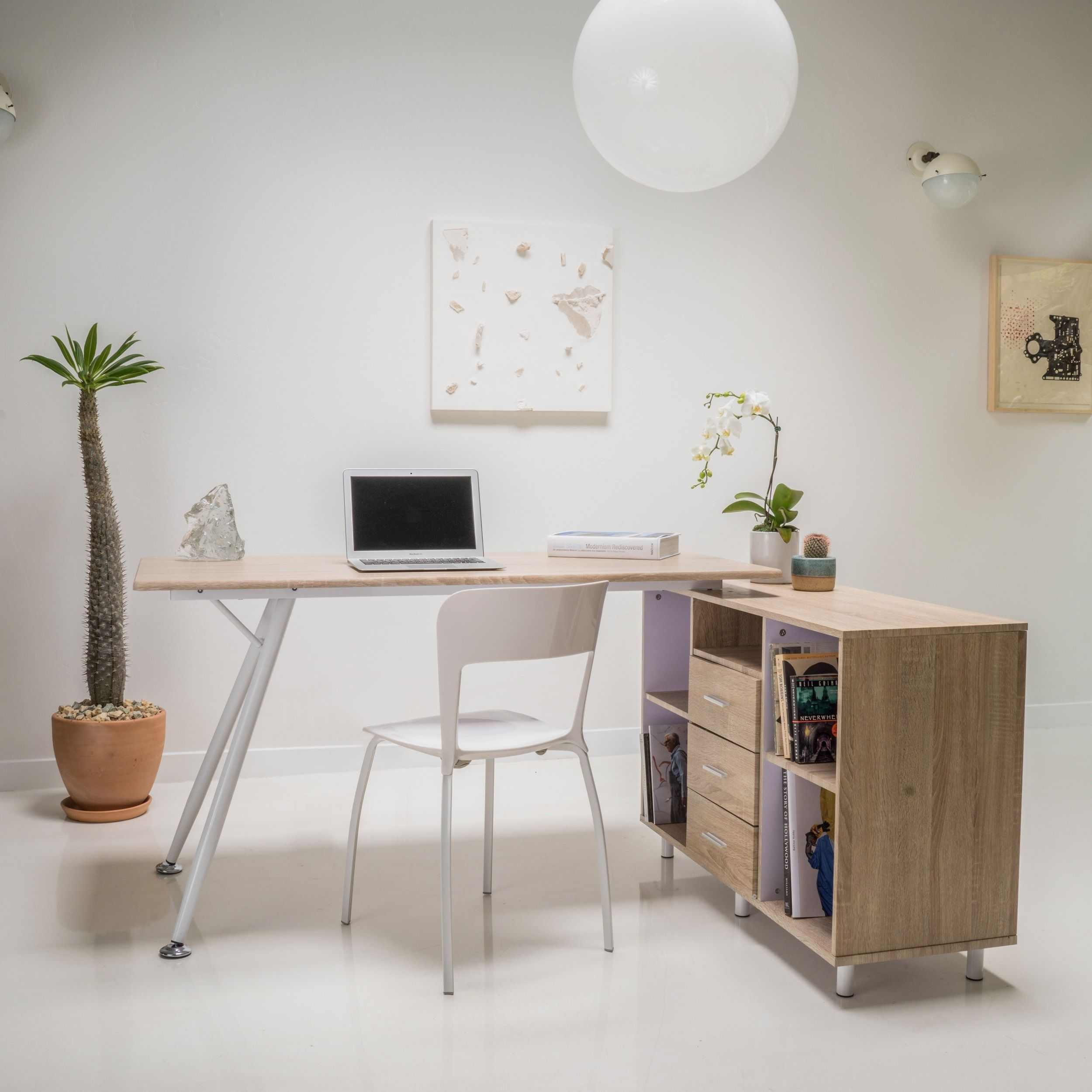 Incroyable Create An Inspired Space To Work On Projects Or Homework With This Retro  Inspired Wood Computer Desk. An Attached Storage Cabinet Includes Three  Drawers And ...