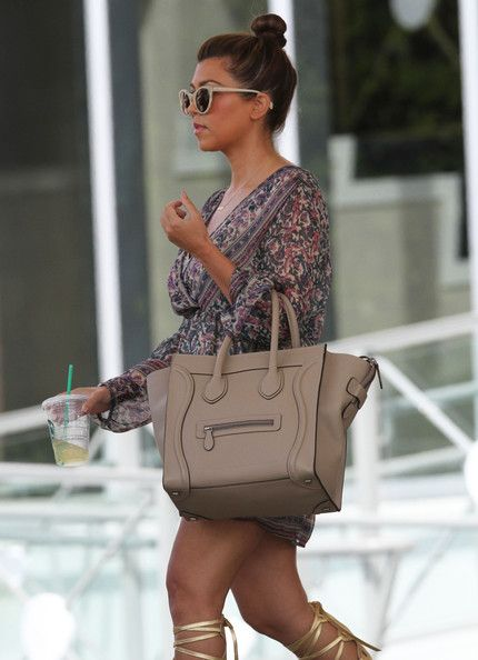 b16810c53d35 Kourtney Kardashian with Celine Dune Mini Luggage Bag