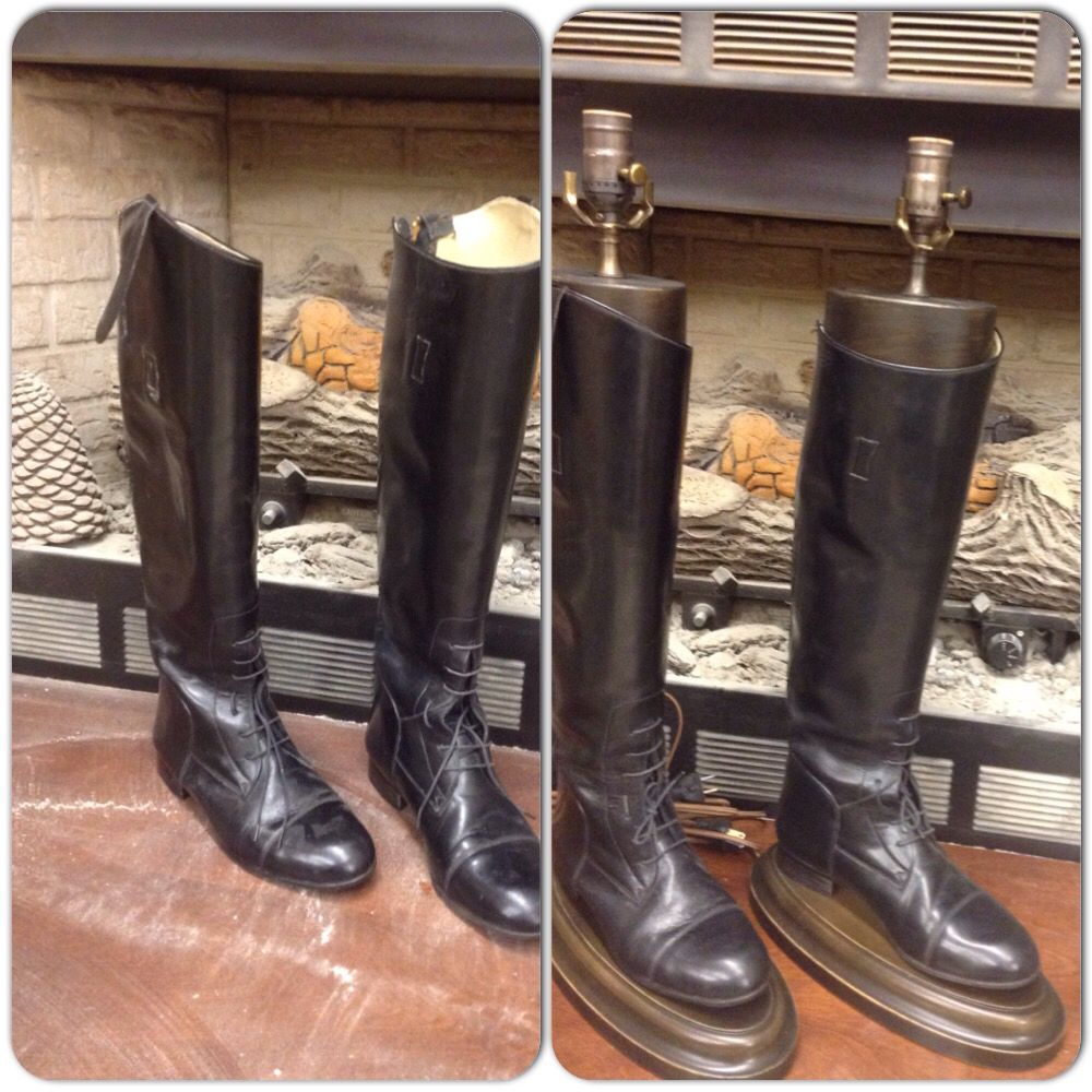 Riding Boots Made Into One Of A Kind Lamps A Custom Lamp Base With Antique Hardware Riding Boots Boots Fox Hunting Decor