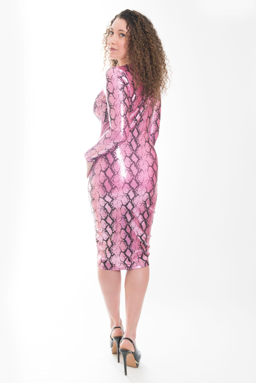 Black u pink snake skin long sleeve v neck dress sotdl