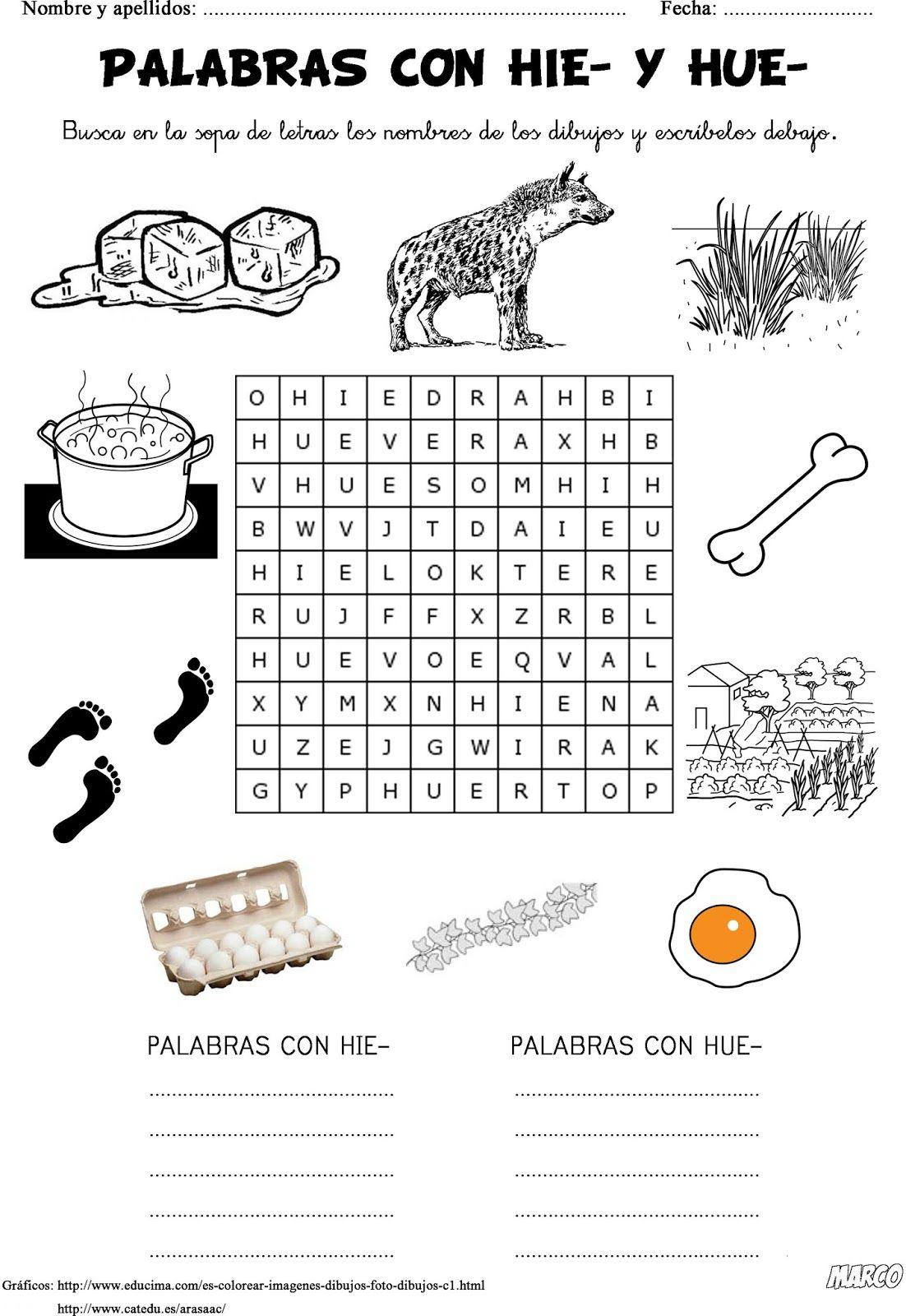 Ortograf a primaria palabras con hie y hue fichas para for Actividades con cartulina para ninos