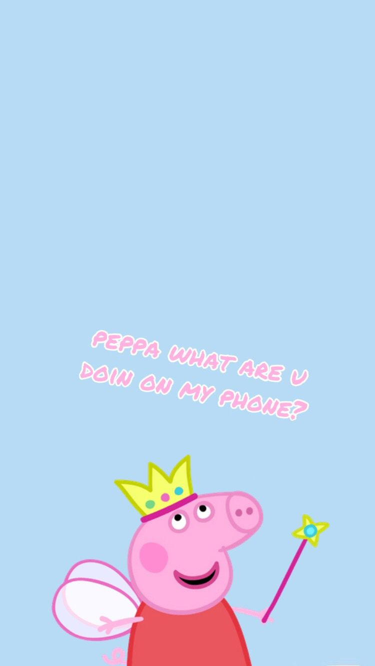 𓃠 Peppa What Are Doin On My Phone Wallpaperシ Peppa Pig Wallpaper Pig Wallpaper Funny Iphone Wallpaper