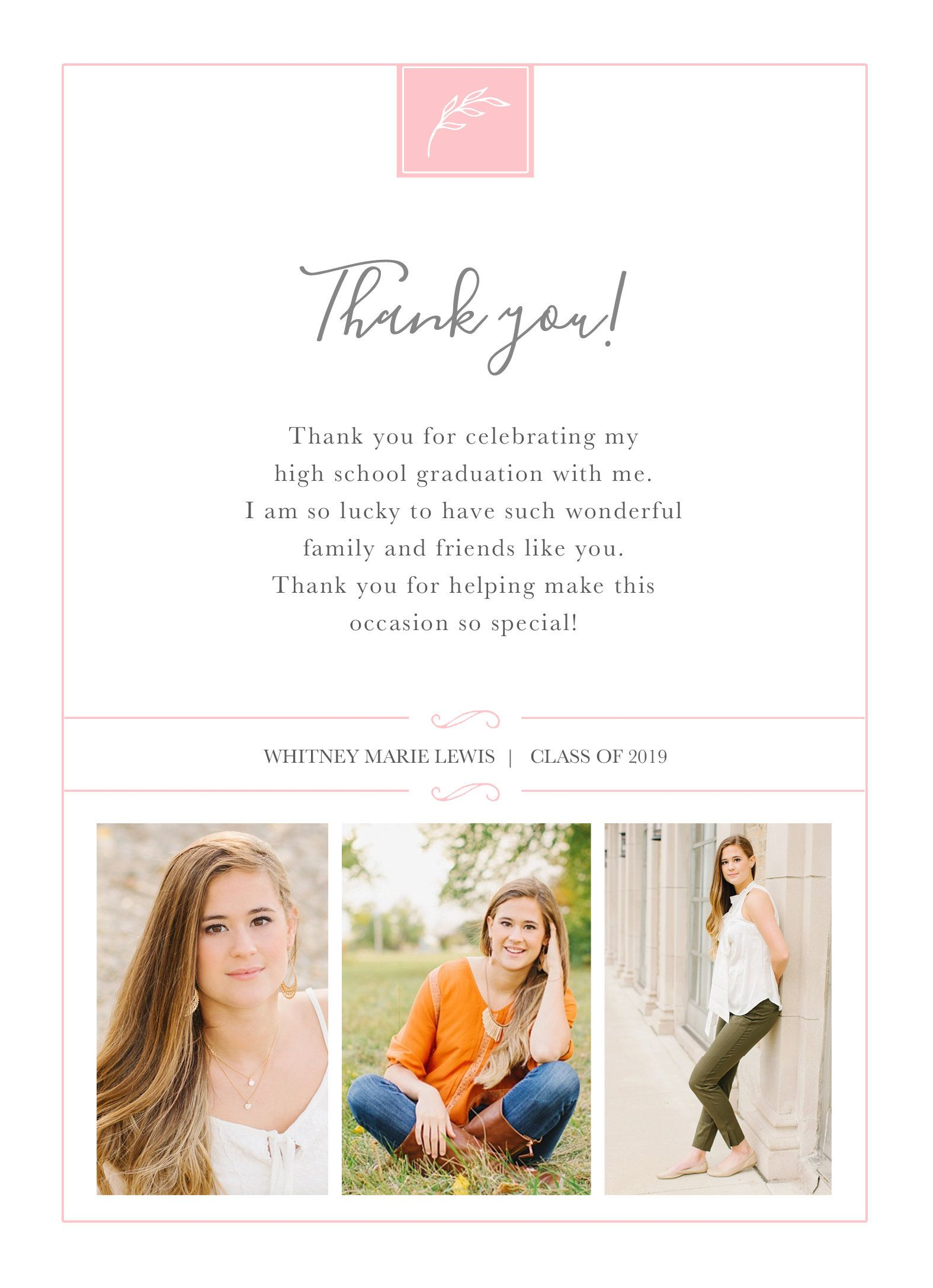Graduation Thank You Card With Photo Personalized Card Etsy Graduation Thank You Cards Graduation Card Templates Graduation Invitations Template