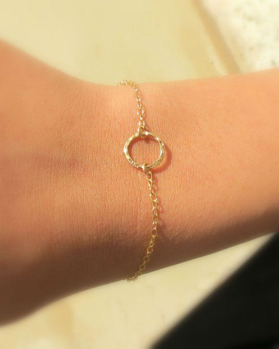 Photo of Dainty Open Circle Charm Bracelet, Delicate Karma Bracelet, Layering Bracelet, Karma Circle, 14k Gold Fill, Best Friend Gift, Dainty Jewelry