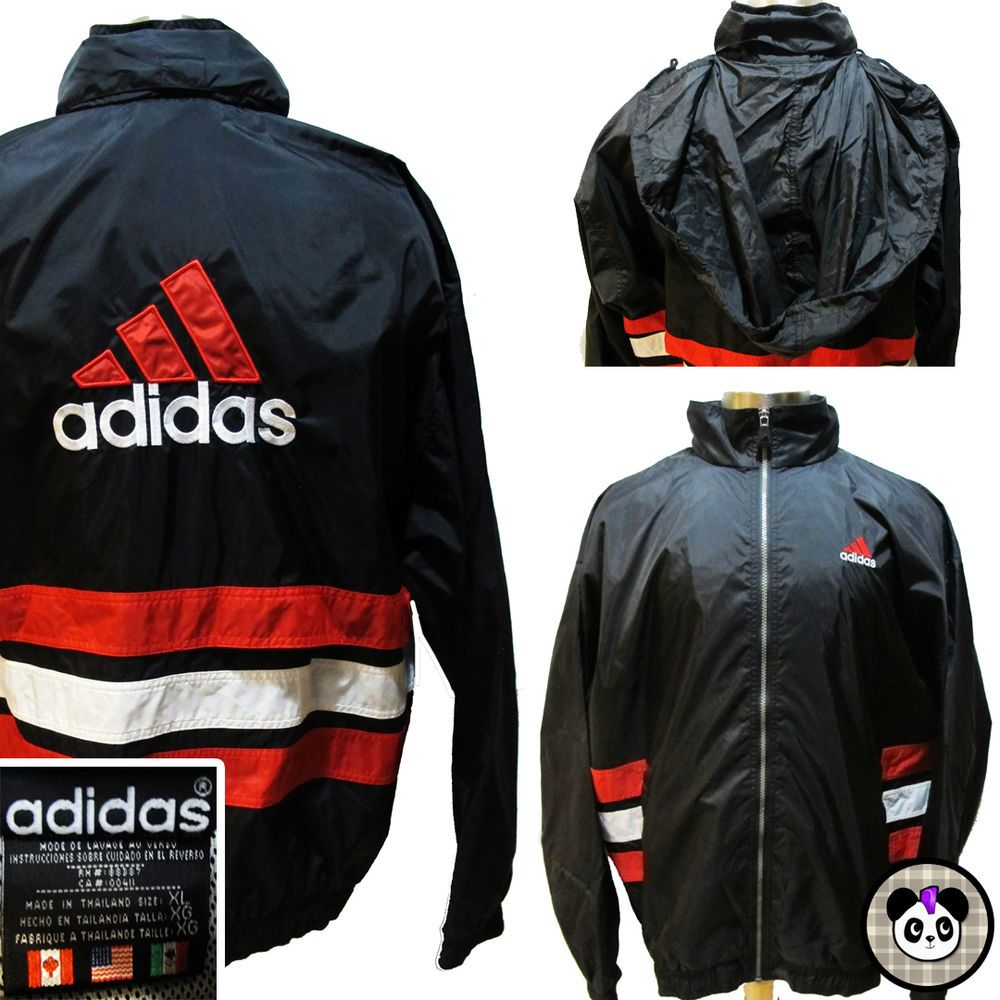 3ad505b8c 90s Adidas Big Logo Spell Out Windbreaker Jacket 3 Stripe Hidden Hood Sz XL  #adidas #Windbreaker #vintage #90s #hiphop #streetwear #sportswear